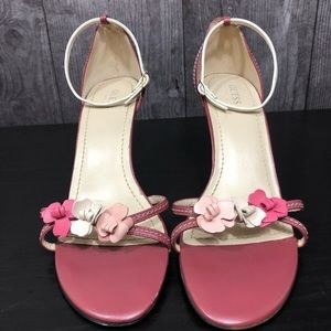 Guess T-Strap Floral Heels Mulberry Color Size 10M